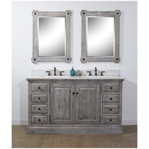 "60"" RUSTIC SOLID FIR DOUBLE SINK VANITY IN GREY DRIFTWOOD WITH ARCTIC PEARL QUARTZ MARBLE TOP-NO FAUCET"