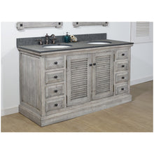 "Load image into Gallery viewer, 60"" RUSTIC SOLID FIR DOUBLE SINKS VANITY IN GREY DRIFTWOOD WITH POLISHED TEXTURED SURFACE GRANITE TOP-NO FAUCET"