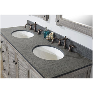 "60"" RUSTIC SOLID FIR DOUBLE SINKS VANITY IN GREY DRIFTWOOD WITH POLISHED TEXTURED SURFACE GRANITE TOP-NO FAUCET"