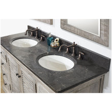 "Load image into Gallery viewer, 60"" RUSTIC SOLID FIR DOUBLE SINKS VANITY IN GREY DRIFTWOOD WITH LIMESTONE TOP-NO FAUCET"
