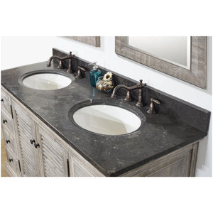 "60"" RUSTIC SOLID FIR DOUBLE SINKS VANITY IN GREY DRIFTWOOD WITH LIMESTONE TOP-NO FAUCET"