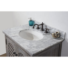 "Load image into Gallery viewer, 30"" RUSTIC SOLID FIR SINK VANITY IN GREY DRIFTWOOD WITH CARRARA WHITE MARBLE TOP-NO FAUCET"