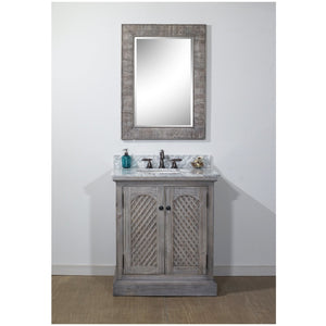 "30"" RUSTIC SOLID FIR SINK VANITY IN GREY DRIFTWOOD WITH CARRARA WHITE MARBLE TOP-NO FAUCET"