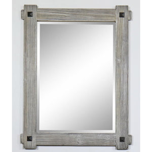 "28"" RUSTIC WOOD FRAMED MIRROR(27.6"" W x36"" H) IN GREY DRIFTWOOD"