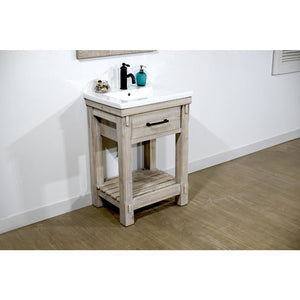 "24""RUSTIC SOLID FIR SINGLE SINK BATHROOM VANITY WITH CERAMIC TOP-NO FAUCET"