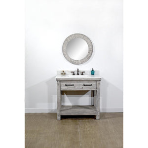 "36""RUSTIC SOLID FIR SINGLE SINK VANITY IN GREY DRIFTWOOD WITH ARCTIC PEARL QUARTZ MARBLE TOP-NO FAUCET"