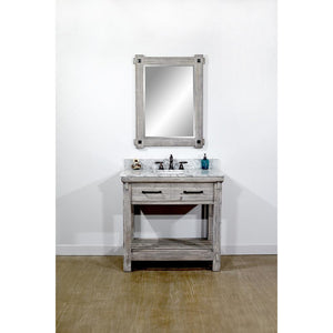 "36""RUSTIC SOLID FIR SINGLE SINK VANITY IN GREY DRIFTWOOD WITH CARRARA WHITE MARBLE TOP-NO FAUCET"