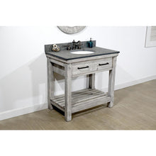 "Load image into Gallery viewer, 36""RUSTIC SOLID FIR SINGLE SINK VANITY IN GREY DRIFTWOOD WITH POLISHED TEXTURED SURFACE GRANITE TOP-NO FAUCET"