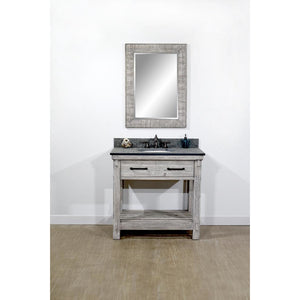 "36""RUSTIC SOLID FIR SINGLE SINK VANITY IN GREY DRIFTWOOD WITH POLISHED TEXTURED SURFACE GRANITE TOP-NO FAUCET"
