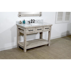 "48""RUSTIC SOLID FIR SINGLE SINK VANITY WITH CARRARA WHITE MARBLE TOP-NO FAUCET"