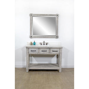 "48""RUSTIC SOLID FIR SINGLE SINK VANITY IN GREY DRIFTWOOD WITH ARCTIC PEARL QUARTZ MARBLE TOP-NO FAUCET"