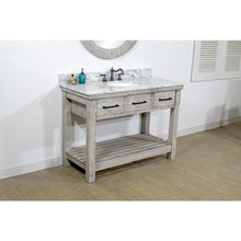 "Load image into Gallery viewer, 48""RUSTIC SOLID FIR SINGLE SINK VANITY IN GREY DRIFTWOOD WITH CARRARA WHITE MARBLE TOP-NO FAUCET"