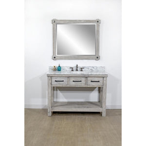 "48""RUSTIC SOLID FIR SINGLE SINK VANITY IN GREY DRIFTWOOD WITH CARRARA WHITE MARBLE TOP-NO FAUCET"