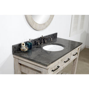 "48""RUSTIC SOLID FIR SINGLE SINK VANITY WITH LIMESTONE TOP-NO FAUCET"