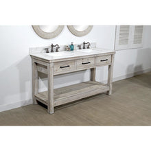 "Load image into Gallery viewer, 60""RUSTIC SOLID FIR DOUBLE SINK VANITY WITH ARCTIC PEARL QUARTZ MARBLE TOP-NO FAUCET"