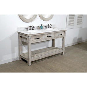 "60""RUSTIC SOLID FIR DOUBLE SINK VANITY WITH ARCTIC PEARL QUARTZ MARBLE TOP-NO FAUCET"