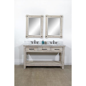"60""RUSTIC SOLID FIR DOUBLE SINK VANITY WITH CARRARA WHITE MARBLE TOP-NO FAUCET"