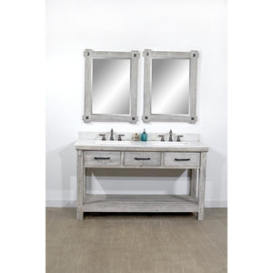 "60""RUSTIC SOLID FIR DOUBLE SINK VANITY IN GREY DRIFTWOOD WITH ARCTIC PEARL QUARTZ MARBLE TOP-NO FAUCET"