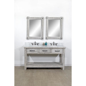 "60""RUSTIC SOLID FIR DOUBLE SINK VANITY IN GREY DRIFTWOOD WITH CARRARA WHITE MARBLE TOP-NO FAUCET"