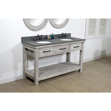 "Load image into Gallery viewer, 60""RUSTIC SOLID FIR DOUBLE SINK VANITY IN GREY DRIFTWOOD WITH POLISHED TEXTURED SURFACE GRANITE TOP-NO FAUCET"