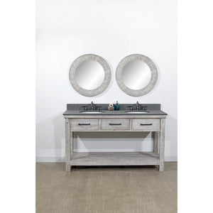 "60""RUSTIC SOLID FIR DOUBLE SINK VANITY IN GREY DRIFTWOOD WITH POLISHED TEXTURED SURFACE GRANITE TOP-NO FAUCET"