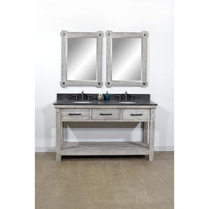 "60""RUSTIC SOLID FIR DOUBLE SINK VANITY IN GREY DRIFTWOOD WITH LIMESTONE TOP-NO FAUCET"