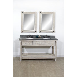 "60""RUSTIC SOLID FIR DOUBLE SINK VANITY WITH POLISHED TEXTURED SURFACE GRANITE TOP-NO FAUCET"