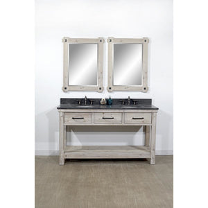 "60""RUSTIC SOLID FIR DOUBLE SINK VANITY WITH LIMESTONE TOP-NO FAUCET"