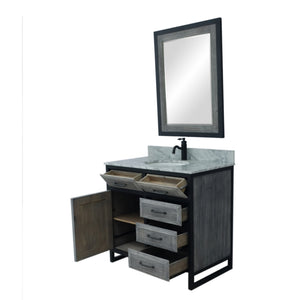 "36""RUSTIC SOLID FIR SINGLE SINK IRON FRAME VANITY IN GREY WITH CARRARA WHITE MARBLE TOP-NO FAUCET"