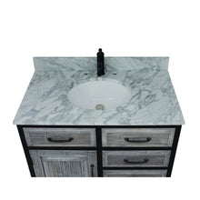 "Load image into Gallery viewer, 36""RUSTIC SOLID FIR SINGLE SINK IRON FRAME VANITY IN GREY WITH CARRARA WHITE MARBLE TOP-NO FAUCET"