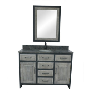 "48""RUSTIC SOLID FIR SINGLE SINK IRON FRAME VANITY IN GREY WITH LIMESTONE TOP-NO FAUCET"