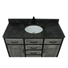 "Load image into Gallery viewer, 48""RUSTIC SOLID FIR SINGLE SINK IRON FRAME VANITY IN GREY WITH LIMESTONE TOP-NO FAUCET"