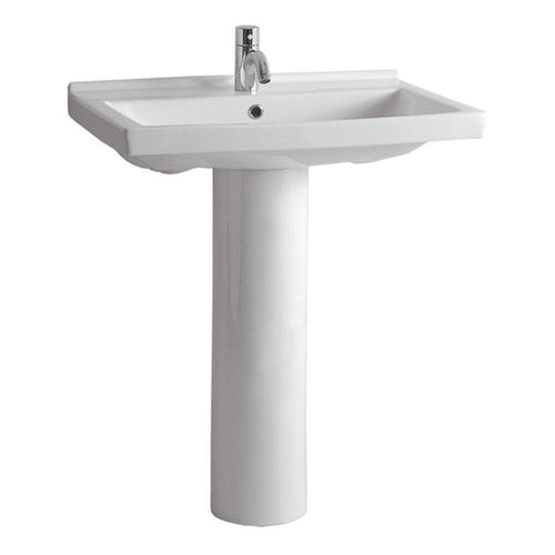 Isabella Collection Tubular Pedestal Sink with Rectagular Basin, Chrome Overflow and Widespread Faucet Drilling