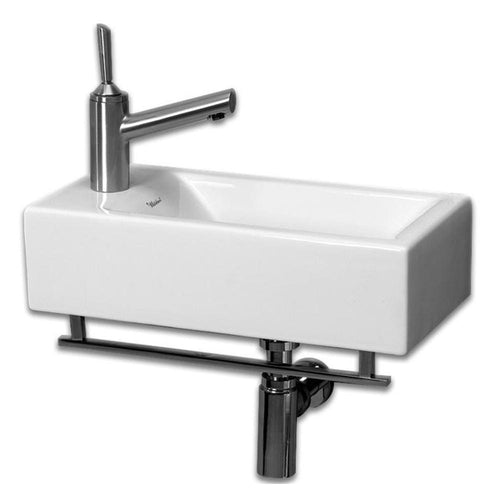 Isabella Collection Small Wall Mount Basin with Crome Towel Bar and Center Drain