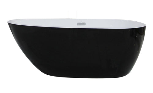59 inch Black & White Oval Acrylic Free Standing Soaking Bathtub