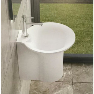 "19""POLYSTONE BUCKET STYLE WALL MOUNTED SINK IN GLOSSY WHITE FINISH-NO FAUCET"
