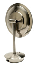 "Load image into Gallery viewer,   Brushed Nickel Tabletop Round 9"" 5x Magnifying Cosmetic Mirror with Light"