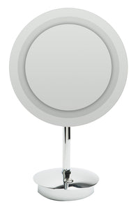 "Brushed Nickel Tabletop Round 9"" 5x Magnifying Cosmetic Mirror with Light"