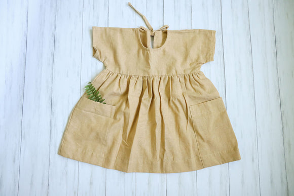Girls Short Sleeve Linen Smock Dress | Parisian Capsule Collection