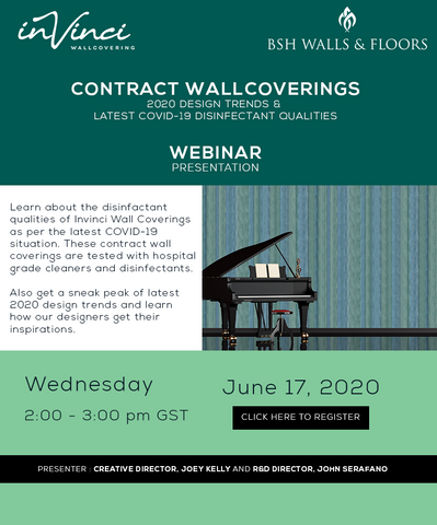 webinar wednesday, INVINCI contract wallcoverings 2020 design trends and latest disinfectant qualities