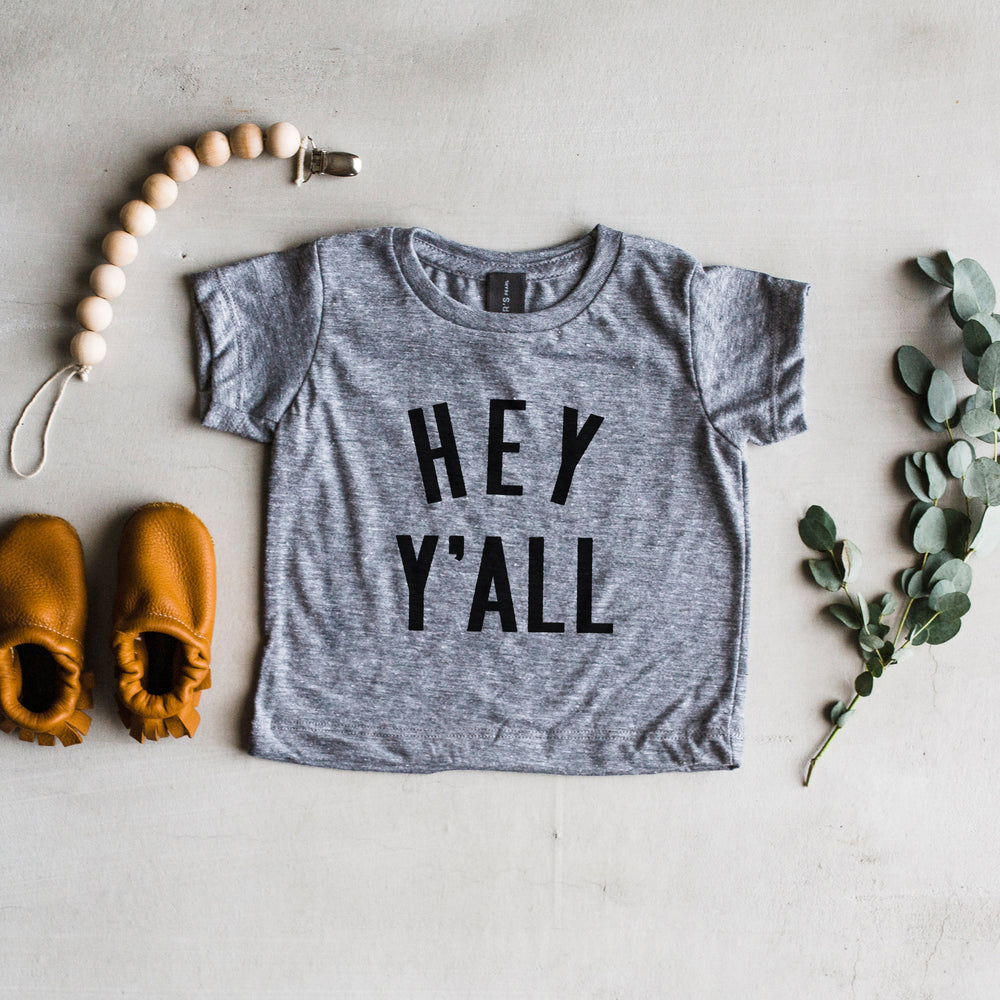 """Hey Y'all"" Tee // Grey"