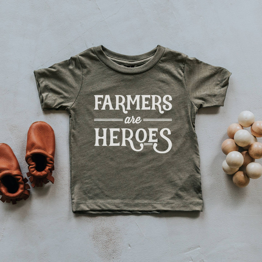 """Farmers Are Heroes"" Kids Tee // OLIVE"