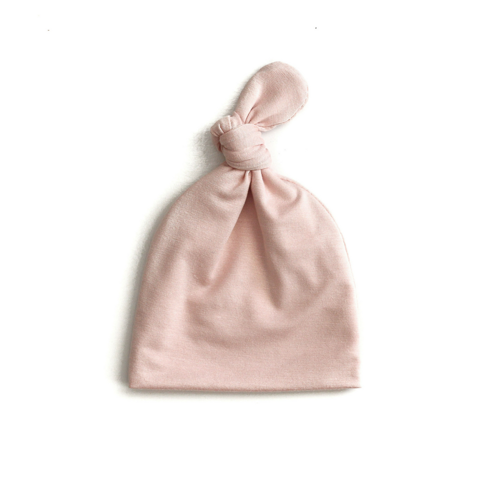 Top Knot Baby Hat // Blush Pink (0-3 months)