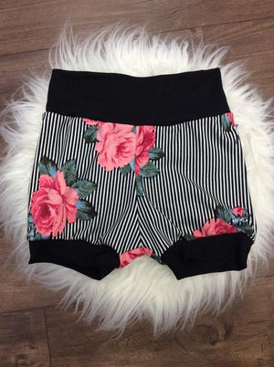 Jogger Shorts // Striped Coral Roses