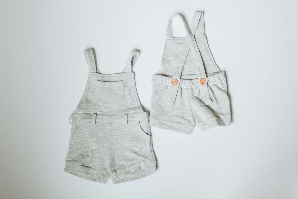 RESTOCK ALERT! Short Overalls // Heather Grey