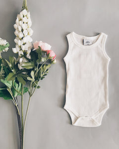 Ribbed Sleeveless Bodysuit // Milk