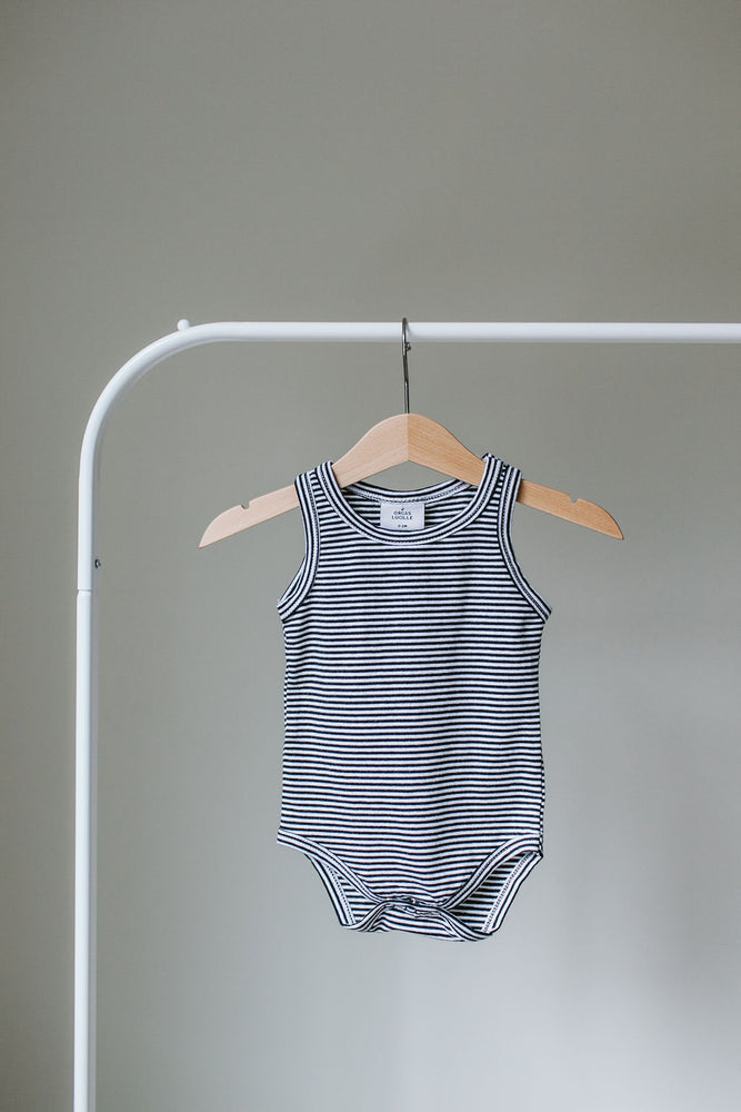 Load image into Gallery viewer, Sleeveless Bodysuit // B&W Stripe