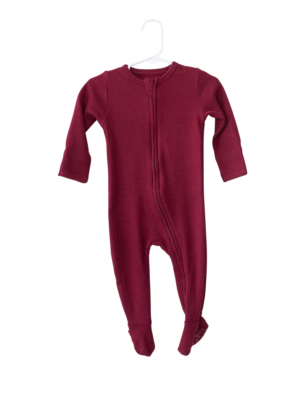 Organic Thermal Zip Footie // Maroon