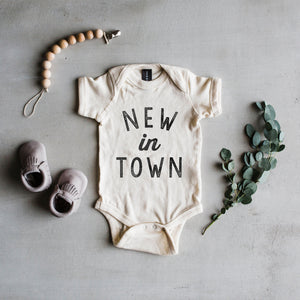"Load image into Gallery viewer, ""New In Town"" Bodysuit // Cream"