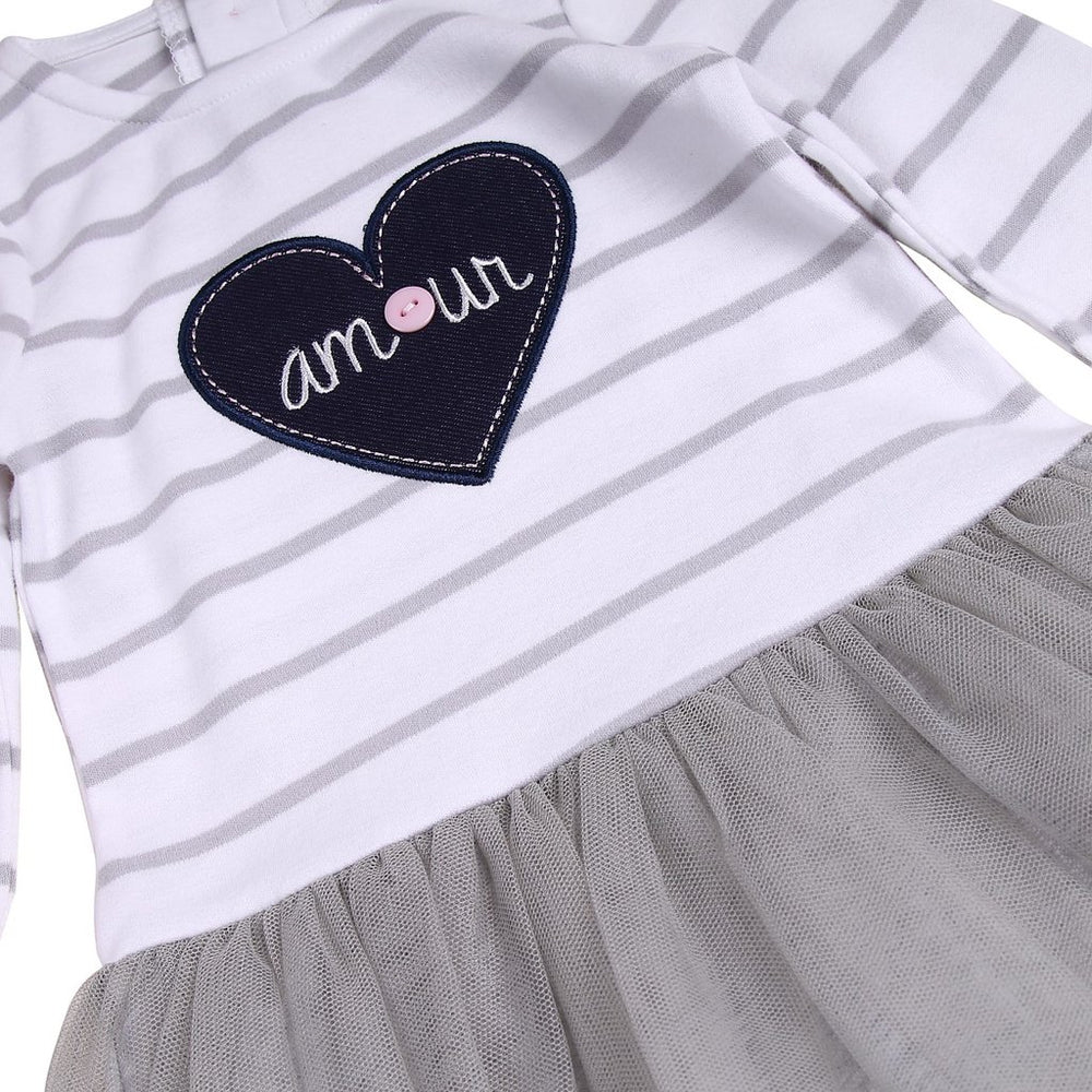 Tutu Dress with Grey Mesh and Heart Patch